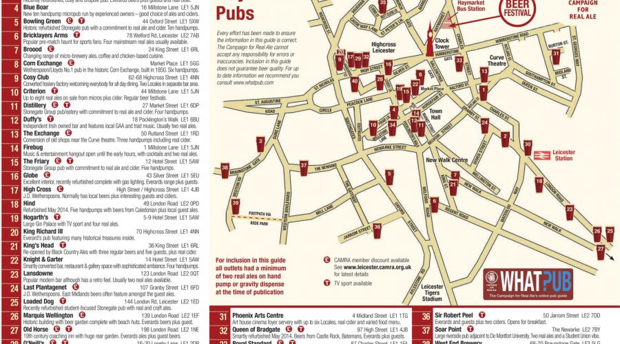 Leicester Ale trail Map