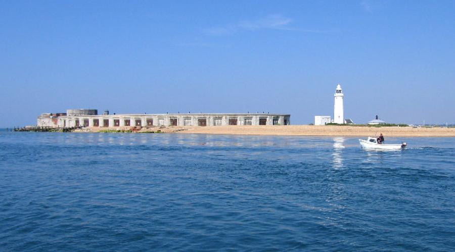 Hurst Castle and Hurst Point Lighthouse on the end of the spit.