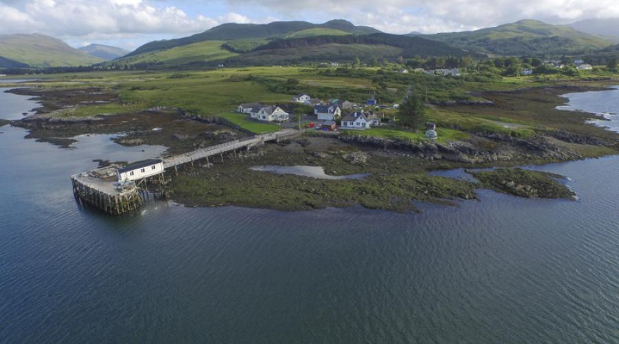 Salen Pier from the air by drone