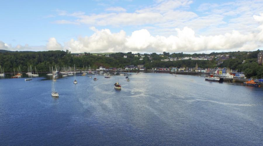 Tobermory from the air by drone