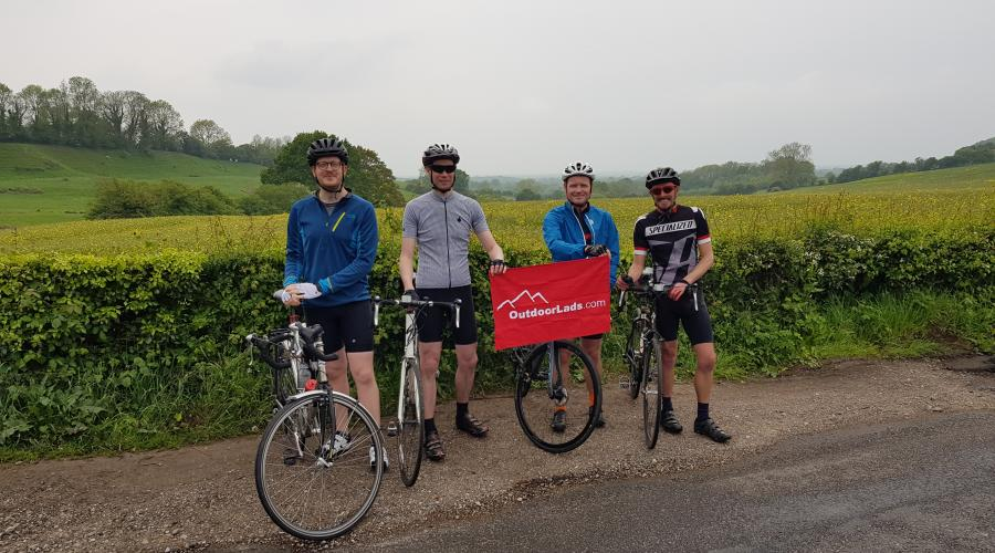4 cycling guys in Kent Country Side