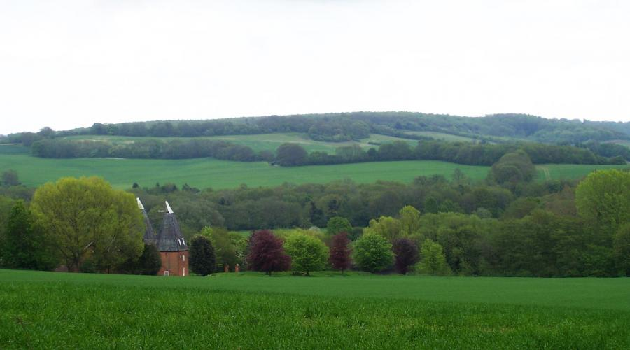 View of oast houses in the Stour Valley