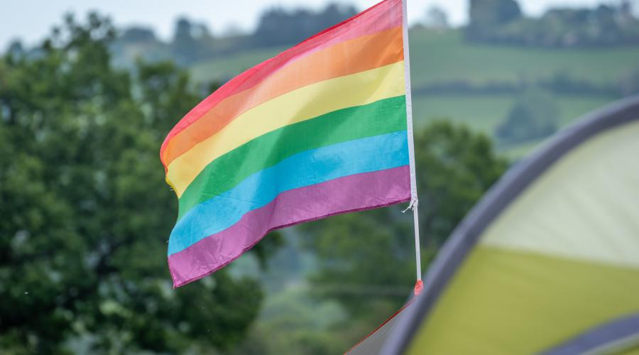 Pride flag on a tent