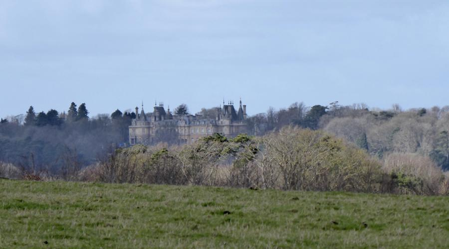 Distant view of Waddesdon Manor
