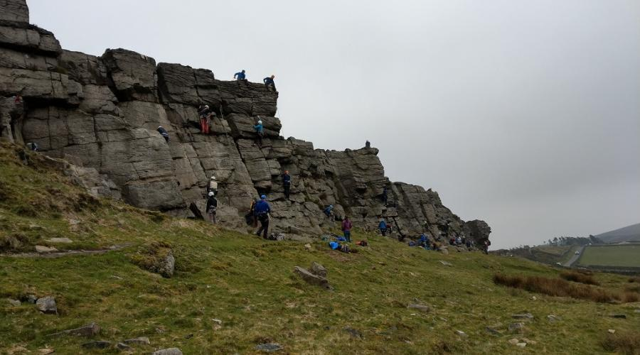 Climbers at Windgather Rocks