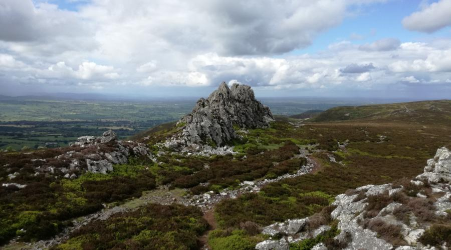 A rocky outcrop at the top of the Stiperstones