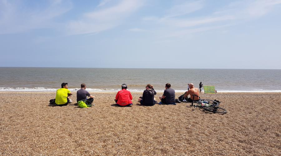 Cylists on the beach