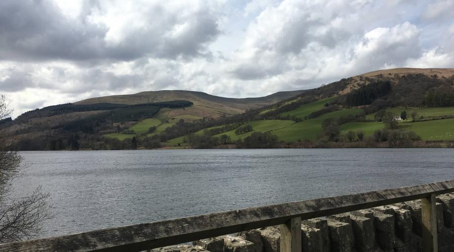 Talybont Reservoir dam waterside