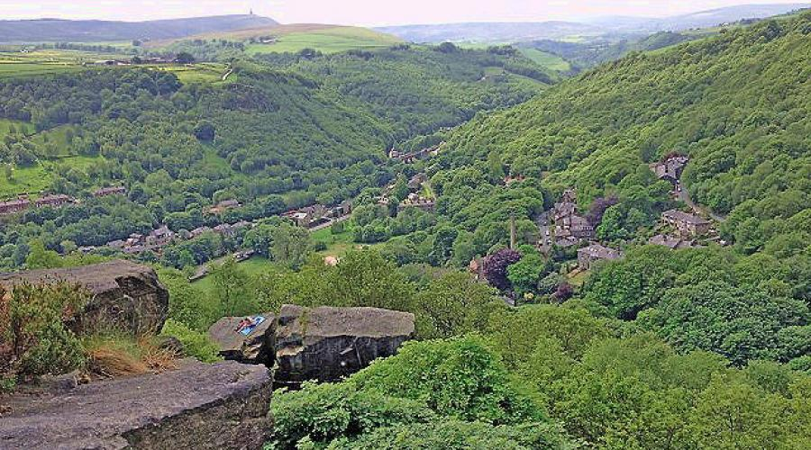 View from Hardcastle Crags towards Stoodley Pike