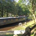 Boat on Rochdale Canal in Hebden Bridge