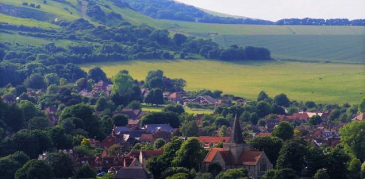 Alfriston village from Downs