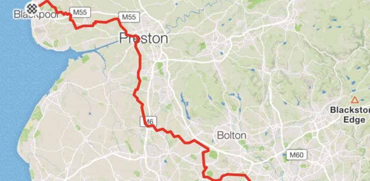 Map of cycling route from Manchester to Blackpool