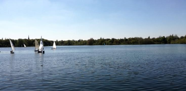 Edgbaston Reservoir with sailing boats Birmingham