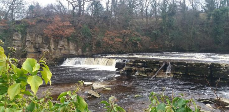 River Swale, view of the waterfalls below castle