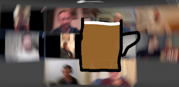 virtual meeting with beer glass superimposed