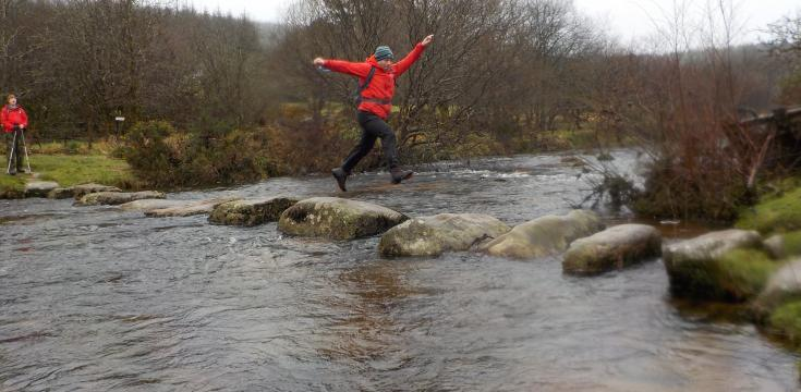 Jumping across stepping stones