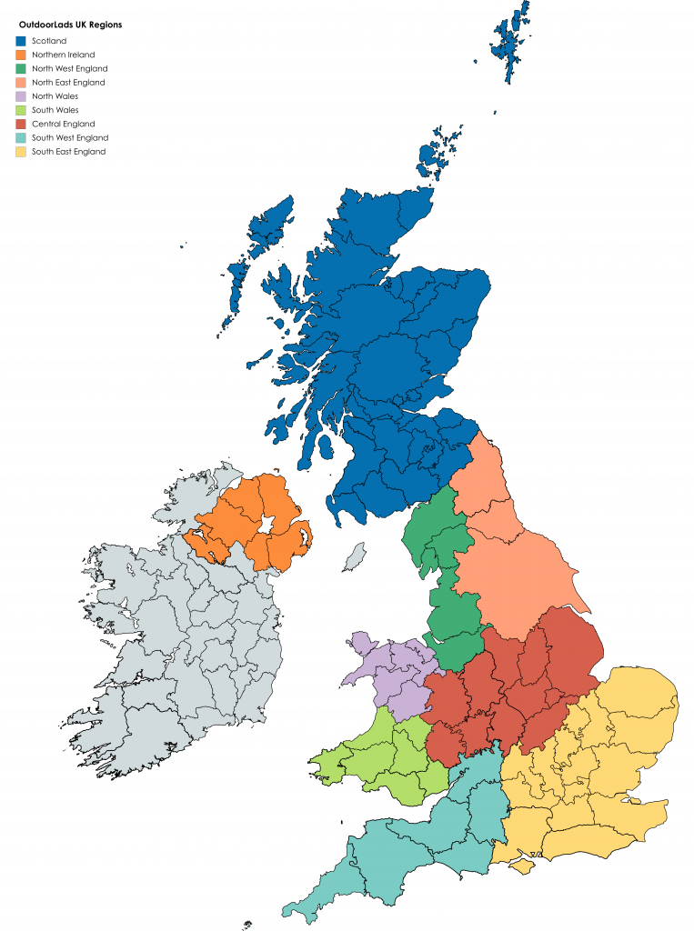 OutdoorLads UK Map and Regions